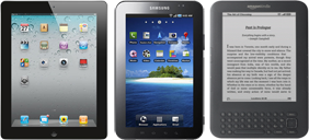iPad, Galaxy Tab, Kindle